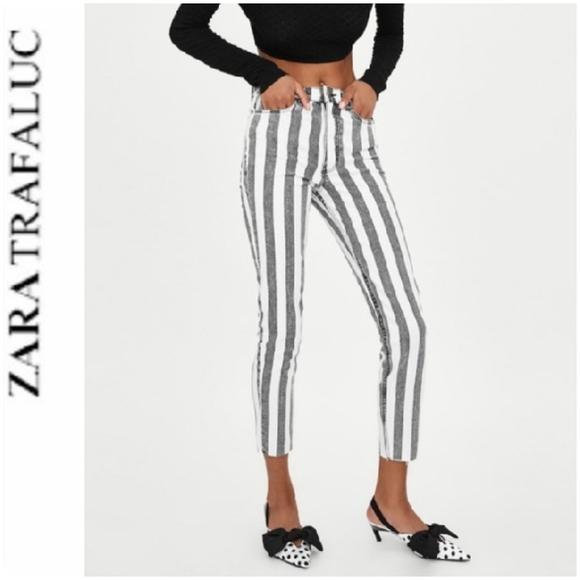Zara TFL Stripes Skinny Raw Hems Jeans Sz 8